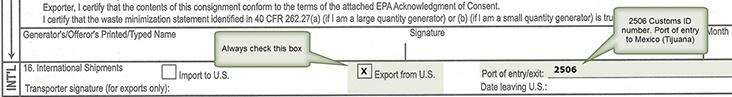 Manifest export box
